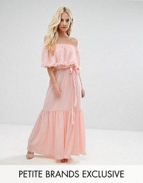 photo Off Shoulder High Low Maxi Dress with 3D Rose Applique Detail by John Zack Petite, color Nude - Image 1