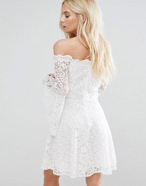 photo Off Shoulder Contrast Allover Lace Mini Dress with Fluted Sleeve Detail by John Zack Petite, color Cream - Image 2