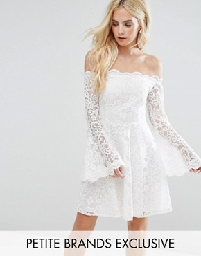 photo Off Shoulder Contrast Allover Lace Mini Dress with Fluted Sleeve Detail by John Zack Petite, color Cream - Image 1