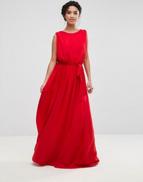 photo Plunge Back Maxi Dress by John Zack Petite, color Red - Image 2