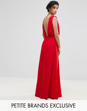 photo Plunge Back Maxi Dress by John Zack Petite, color Red - Image 1
