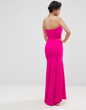 photo Bandeau Fishtail Maxi Dress by John Zack Petite, color Hot Pink - Image 2