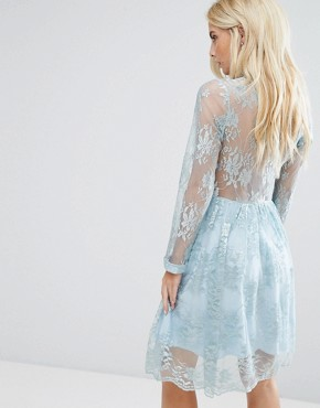 photo Allover Lace Mini Dress with Bow Tie Detail by John Zack Petite, color Dusty Mint - Image 2
