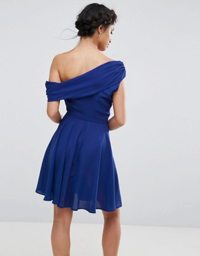 photo Drapey One Shoulder Mini Dress by John Zack Petite, color Blue - Image 2