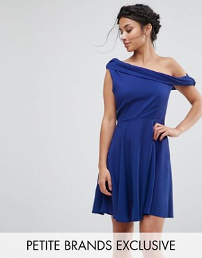 photo Drapey One Shoulder Mini Dress by John Zack Petite, color Blue - Image 1