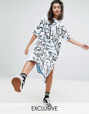 photo Painted Art T-Shirt Dress by Typical Freaks, color Blue/Black - Image 1