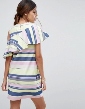 photo Sleeveless Ruffle Shift Dress in Natural Stripe by ASOS, color Multi - Image 2