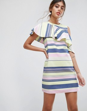 photo Sleeveless Ruffle Shift Dress in Natural Stripe by ASOS, color Multi - Image 1