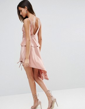 photo Slinky Ruched Thigh Midi Dress by ASOS, color Blush - Image 2
