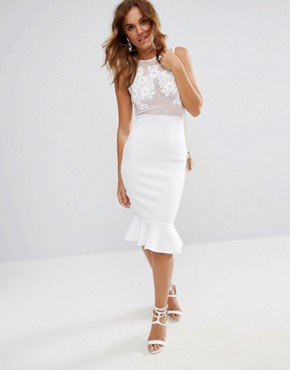 photo Lace Applique & Mesh Mix Bodycon Midi Dress with Pephem by ASOS, color Ivory - Image 1