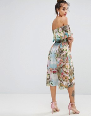 photo Scuba Mirrored Floral Midi Prom Dress by ASOS PREMIUM, color Multi - Image 2