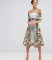 photo Scuba Mirrored Floral Midi Prom Dress by ASOS PREMIUM, color Multi - Image 1
