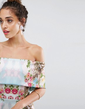 photo Scuba Mirrored Floral Midi Prom Dress by ASOS PREMIUM, color Multi - Image 3