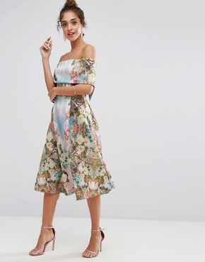 photo Scuba Mirrored Floral Midi Prom Dress by ASOS PREMIUM, color Multi - Image 4