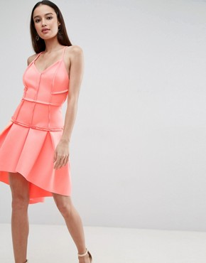 photo Corset Drop Waist Mini Dress by ASOS PREMIUM, color Neon Orange - Image 1