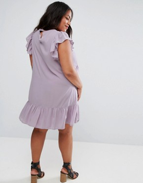 photo Swing Tea Dress with Lace Up & Eyelet Detail by ASOS CURVE, color Lilac - Image 2