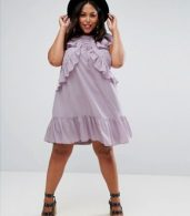 photo Swing Tea Dress with Lace Up & Eyelet Detail by ASOS CURVE, color Lilac - Image 4