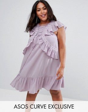 photo Swing Tea Dress with Lace Up & Eyelet Detail by ASOS CURVE, color Lilac - Image 1