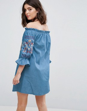 photo Off Shoulder Embroidered Denim Dress by Parisian Petite, color Blue - Image 2