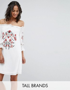photo Off Shoulder Embroidered Dress by Parisian Tall, color White - Image 1