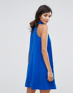 photo Torrii Halterneck Scallop Tunic Dress by Ted Baker, color Mid Blue - Image 2