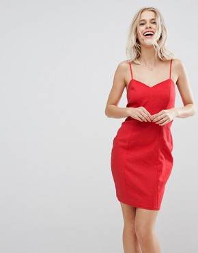 photo Tie Back Mini Sundress in Linen by ASOS, color Red - Image 2