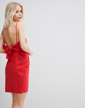 photo Tie Back Mini Sundress in Linen by ASOS, color Red - Image 1