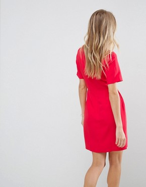 photo Twist Front Mini Pencil Dress by ASOS, color Red - Image 2
