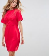 photo Twist Front Mini Pencil Dress by ASOS, color Red - Image 1