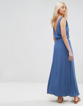 photo Maxi Dress with Deep V-Neck and Side Tab Detail by ASOS, color Blue - Image 2