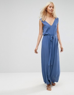 photo Maxi Dress with Deep V-Neck and Side Tab Detail by ASOS, color Blue - Image 1