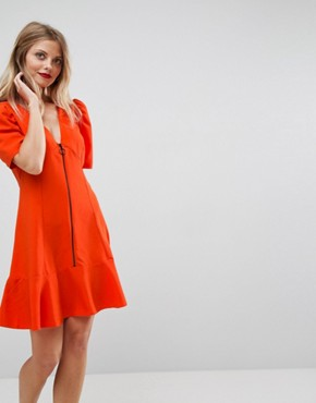 photo Zip Through Tea Dress by ASOS, color Red - Image 1
