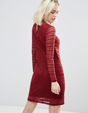 photo Lace Dress with Sheer Panels by b.Young, color Burgundy - Image 2
