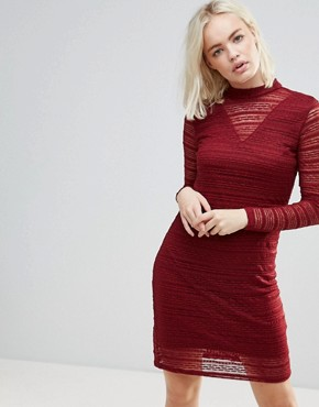 photo Lace Dress with Sheer Panels by b.Young, color Burgundy - Image 1