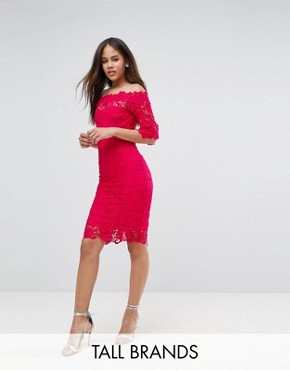 photo Bardot Allover Lace Pencil Dress by Paper Dolls Tall, color Fuchsia - Image 1