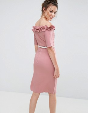 photo Bardot Pencil Dress with Frill Trim by Paper Dolls Tall, color Blush - Image 2