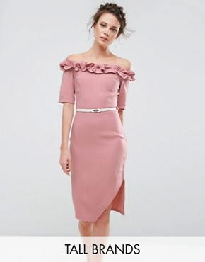 photo Bardot Pencil Dress with Frill Trim by Paper Dolls Tall, color Blush - Image 1