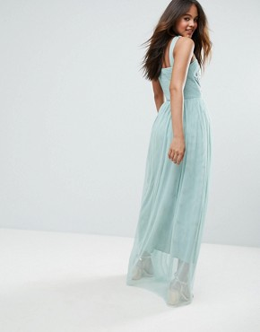 photo Allover Embellished Cross Shoulder Top Maxi Dress by Little Mistress Tall, color Mint - Image 2