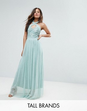 photo Allover Embellished Cross Shoulder Top Maxi Dress by Little Mistress Tall, color Mint - Image 1