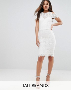 photo Cold Shoulder Frill Lace Pencil Dress by Paper Dolls Tall, color Cream - Image 1