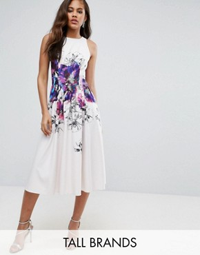 photo Floral Printed Midi Prom Skater Dress by Little Mistress Tall, color Multi - Image 1
