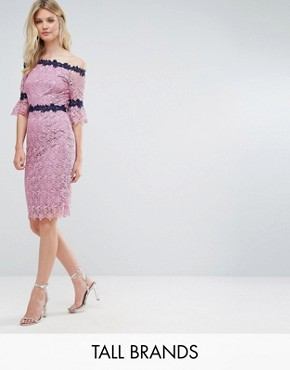 photo Bardot All Over Lace Pencil Dress with Contrast Detail by Paper Dolls Tall, color Mauve - Image 1