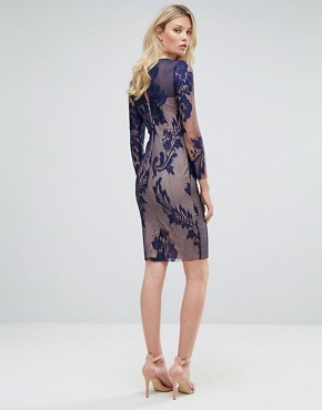 photo All Over Mesh Lace Pencil Dress by Little Mistress Tall, color Navy - Image 2