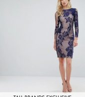 photo All Over Mesh Lace Pencil Dress by Little Mistress Tall, color Navy - Image 1