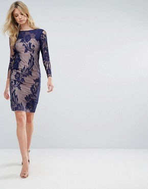 photo All Over Mesh Lace Pencil Dress by Little Mistress Tall, color Navy - Image 4