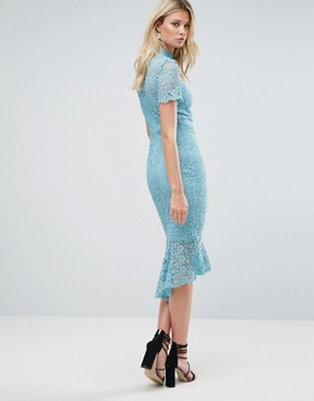 photo All Over Lace High Neck Pencil Dress with Frill Hem by Paper Dolls Tall, color Sage - Image 2