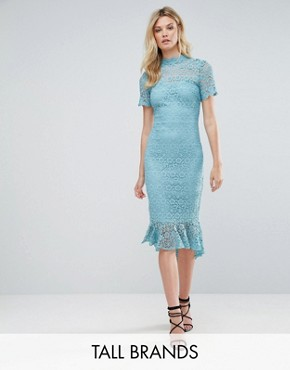 photo All Over Lace High Neck Pencil Dress with Frill Hem by Paper Dolls Tall, color Sage - Image 1