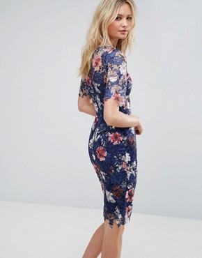 photo All Over Printed Floral Lace Pencil Dress by Paper Dolls Tall, color Multi - Image 2
