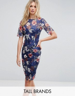 photo All Over Printed Floral Lace Pencil Dress by Paper Dolls Tall, color Multi - Image 1