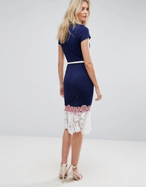 photo Lace Hem Dress with Belt Detail by Paper Dolls Tall, color Navy - Image 2